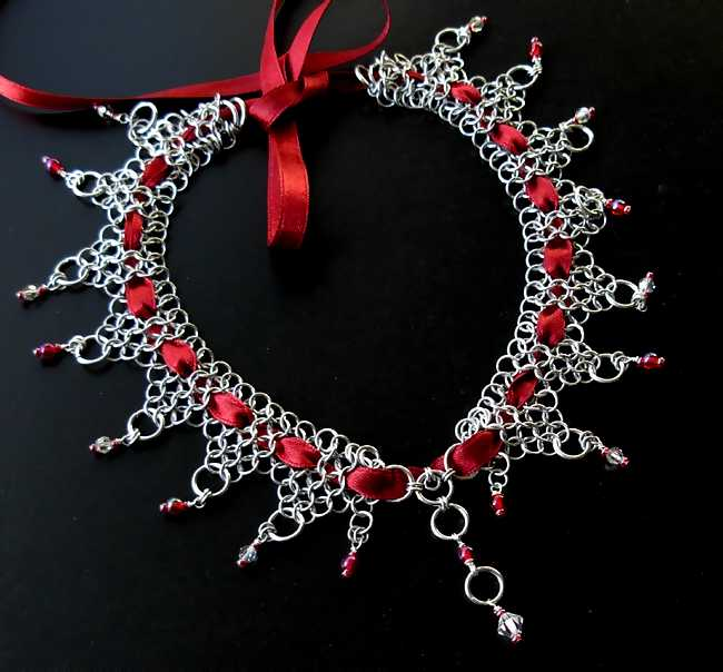 Chainmaille Choker laced with siam red and swarovski crystal beads